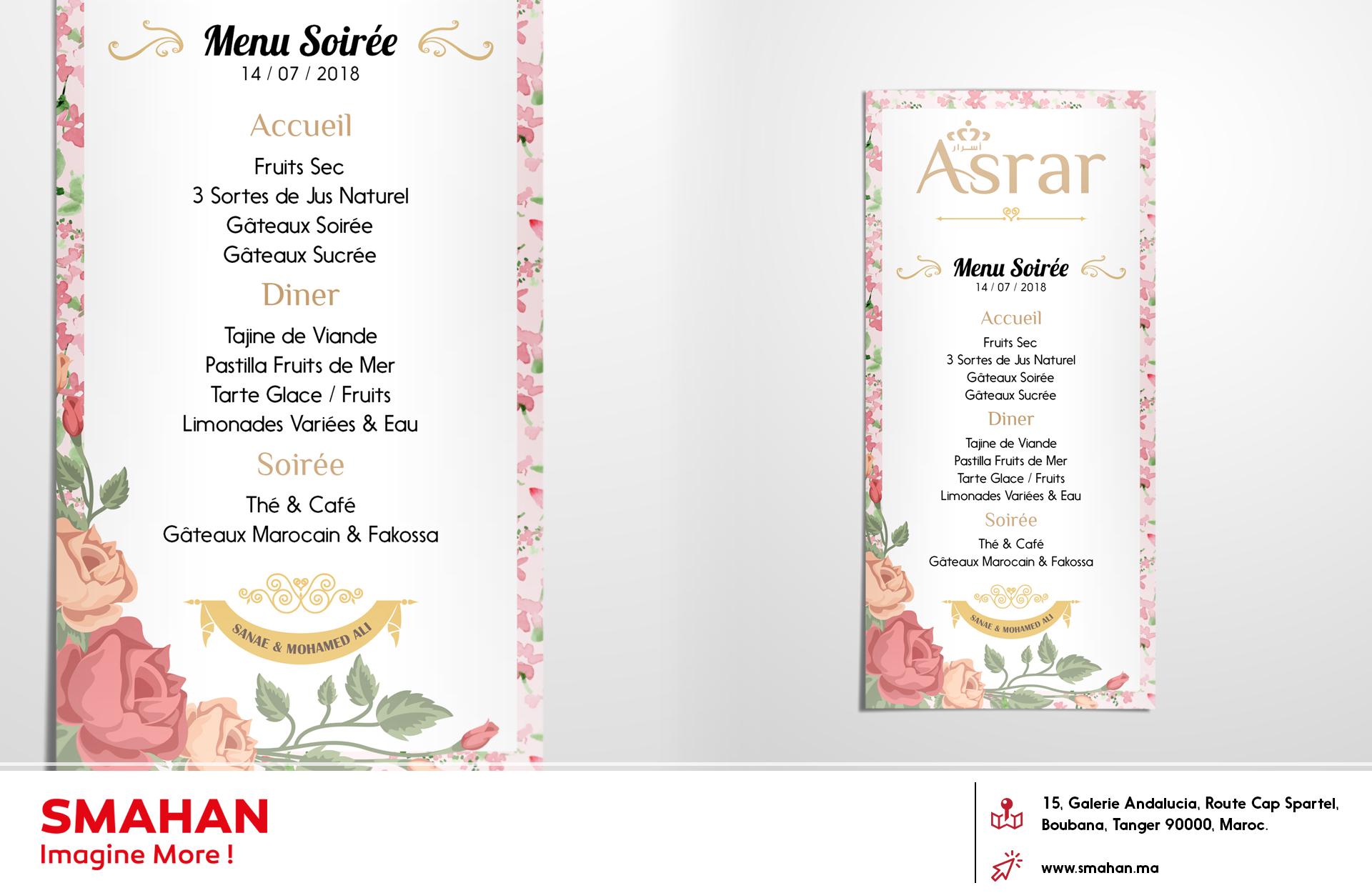 Palais Asrar Carte Visite Menu